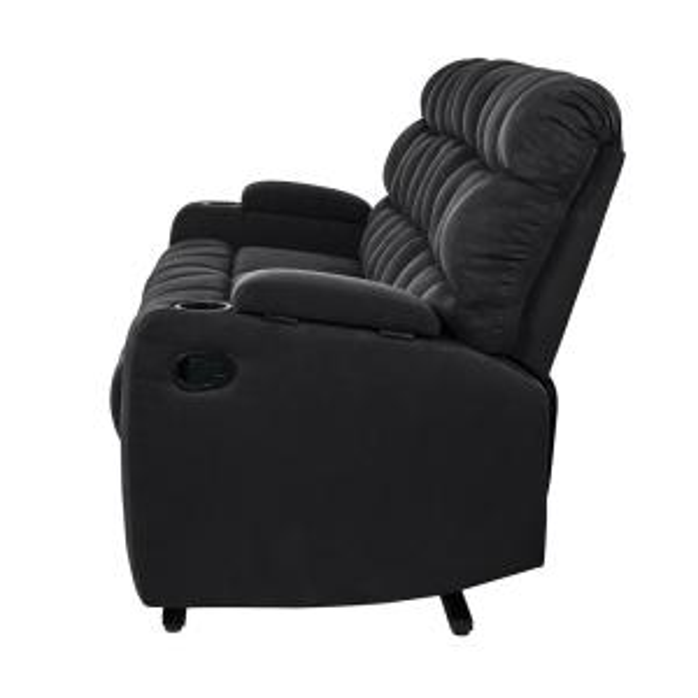 Terrific Prolounger 3 Seat Black Microfiber Wall Hugger Storage Pdpeps Interior Chair Design Pdpepsorg