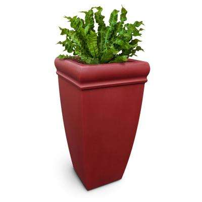 Chelsey 28 in. Tall Red Plastic Planter