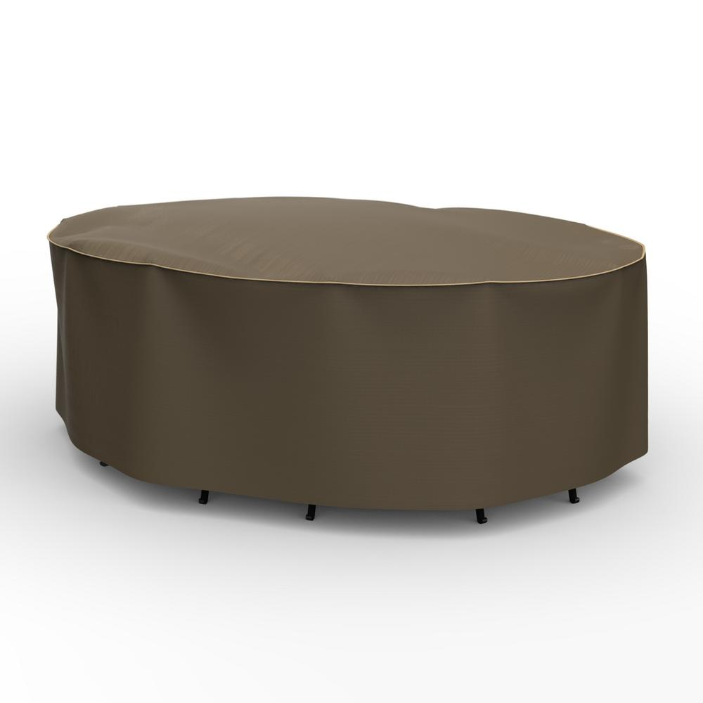 Budge NeverWet Hillside Small Black and Tan Oval Table and Chairs Combo Cover