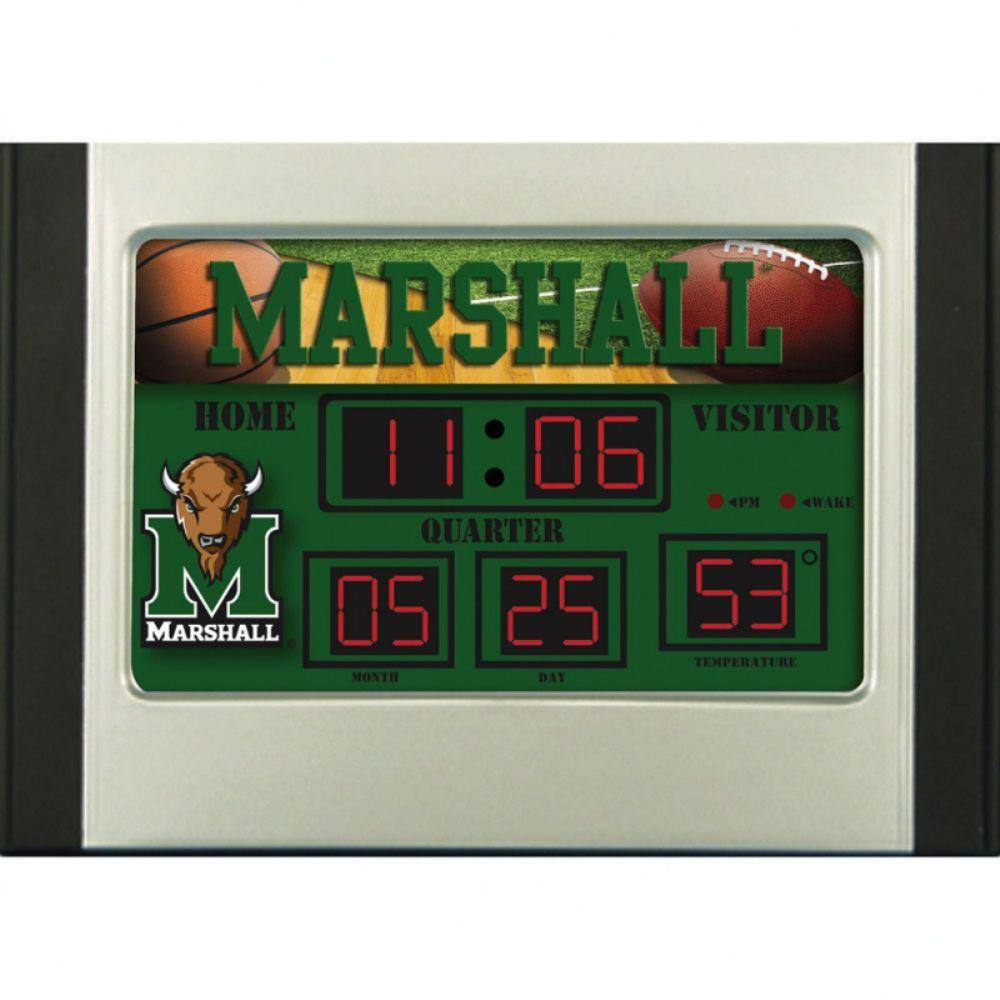 null Marshall University 6.5 in. x 9 in. Scoreboard Alarm Clock with Temperature