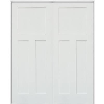 60 in. x 80 in. Craftsman Shaker 3-Panel Both Active MDF Solid Hybrid Core Double Prehung Interior French Door