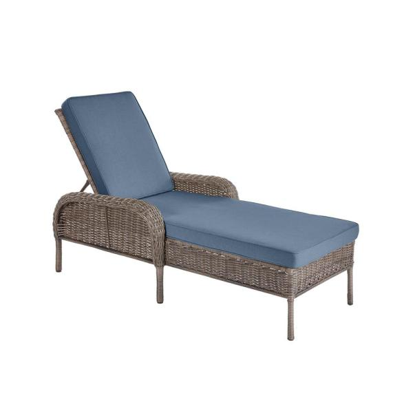 Gray Wicker Outdoor Patio Chaise Lounge