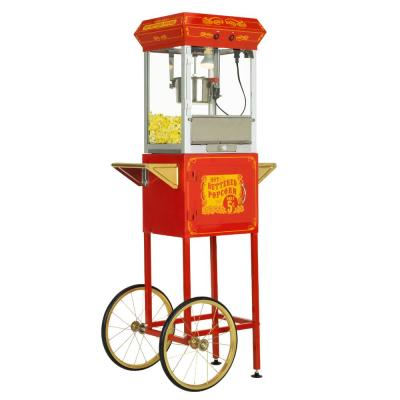 4 oz. Red and Gold Hot Oil Popcorn Machine with Cart