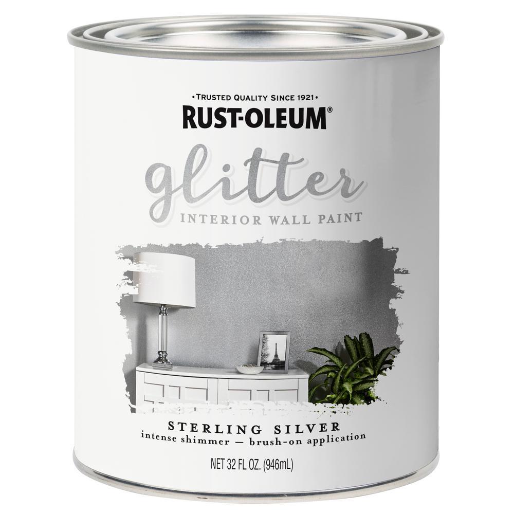 rust oleum 1 qt sterling silver glitter interior paint 2 pack 323858 nodesale. Black Bedroom Furniture Sets. Home Design Ideas