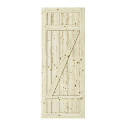 33 in. x 84 in. Country Z-Brace Unfinished Knotty Pine Interior Barn Door Slab