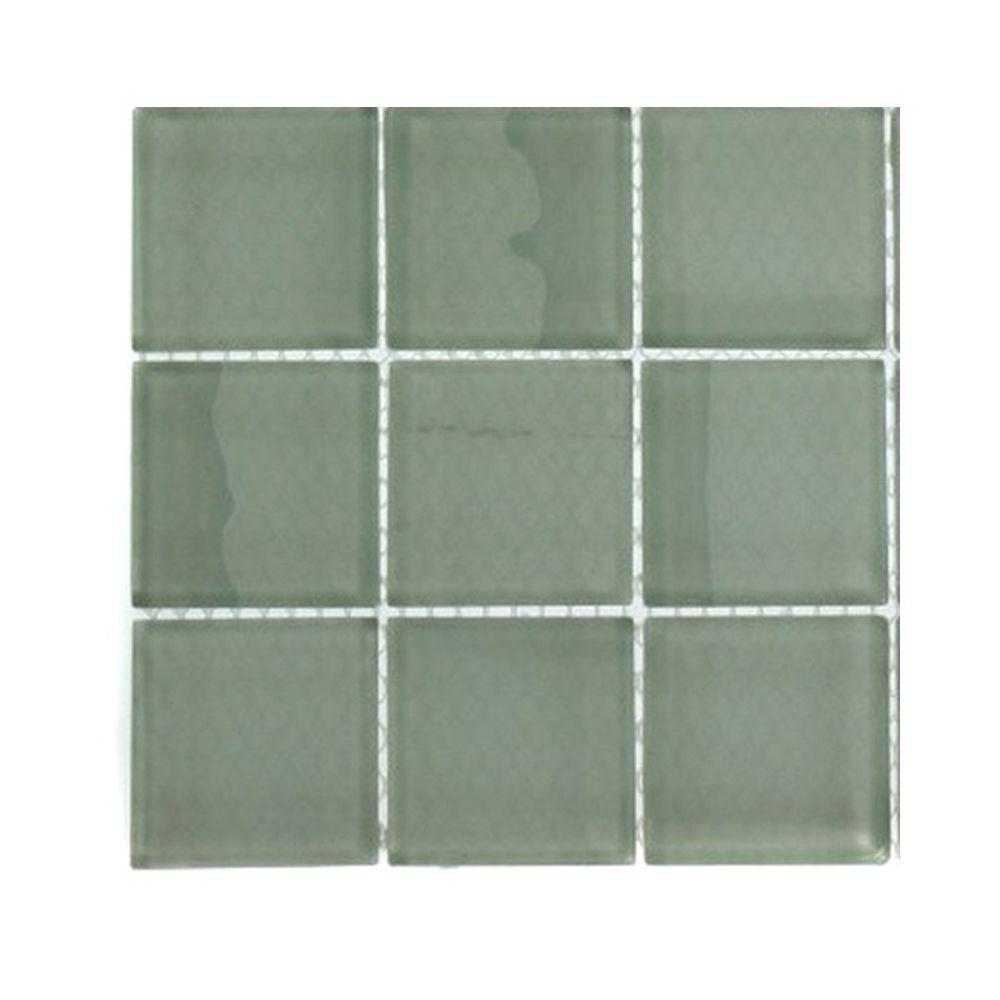 Splashback Tile Contempo Seafoam Polished Glass Tile - 3 in. x 6 in. x 8 mm Tile Sample