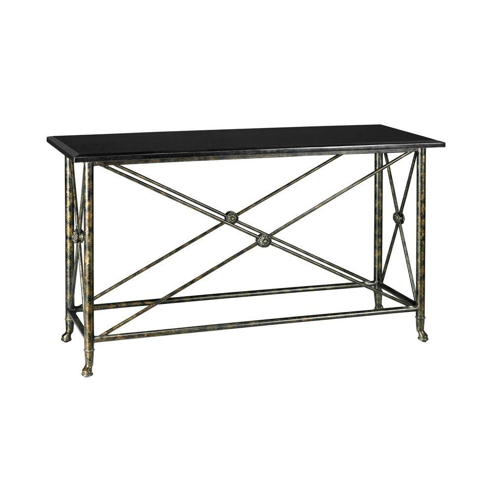 Home Decorators Collection Elliot Antique Gold with Black Granite Top Console Table