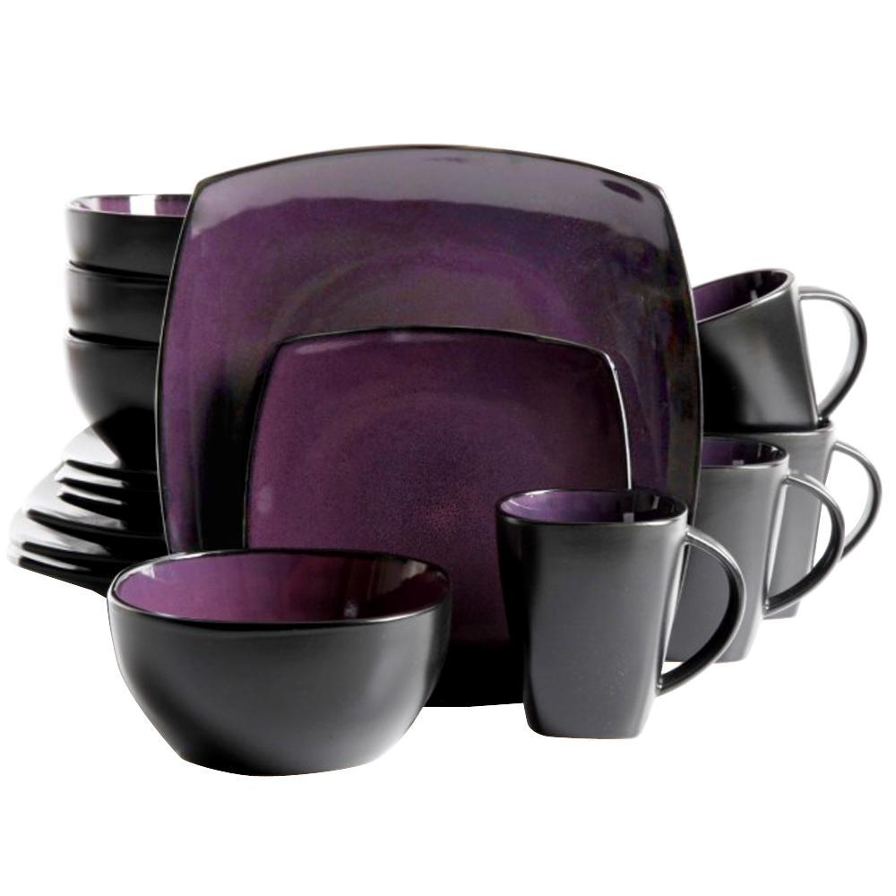 Soho Lounge 16-Piece Purple Dinnerware Set