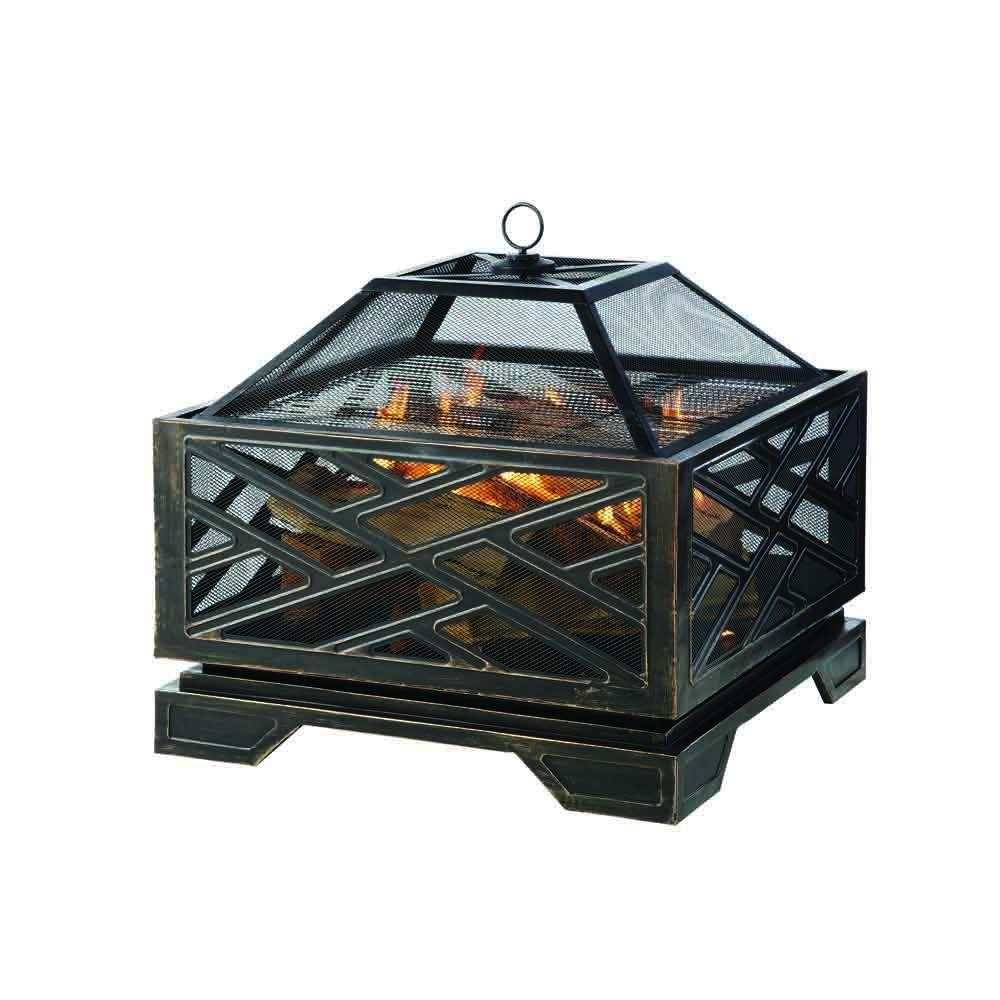 Pleasant Hearth Martin 26 in. x 26 in. Square Deep Bowl Steel Wood Fire Pit in Rubbed Bronze