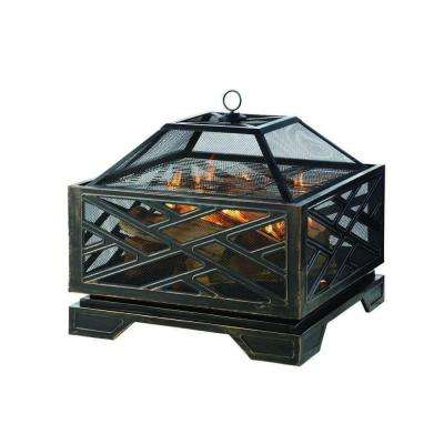 Martin 26 in. x 26 in. Square Deep Bowl Steel Wood Fire Pit in Rubbed Bronze