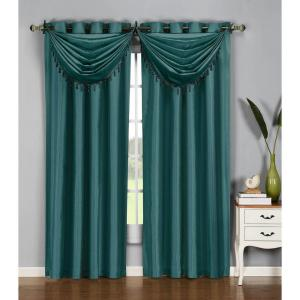 window elements semiopaque jane faux silk 84 in l grommet curtain panel pair grey teal set of 2ymc002604 the home depot