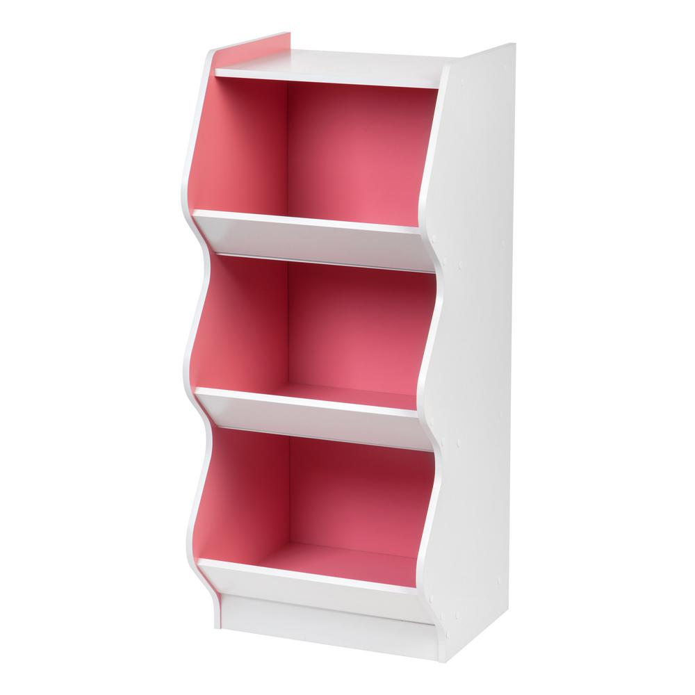 3-Tier White and Pink Curved Edge Storage Shelf