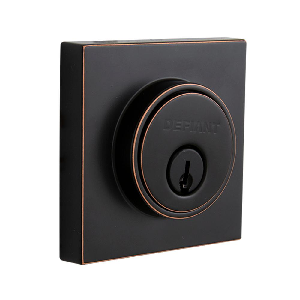 Defiant Defiant Contemporary Square Aged Bronze Double Cylinder Deadbolt