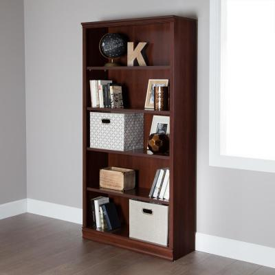 71.5 in. Royal Cherry Faux Wood 5-shelf Standard Bookcase with Adjustable Shelves