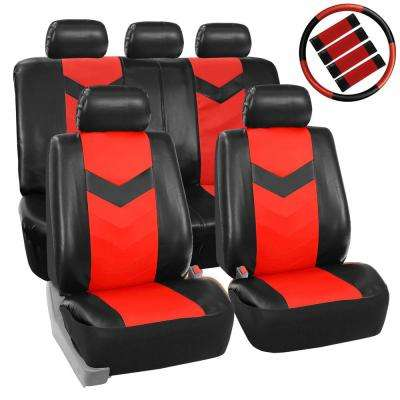 PU Leather 47 in. x 23 in. x 1 in. Airbag Compatible Seat Covers with Accessory Set