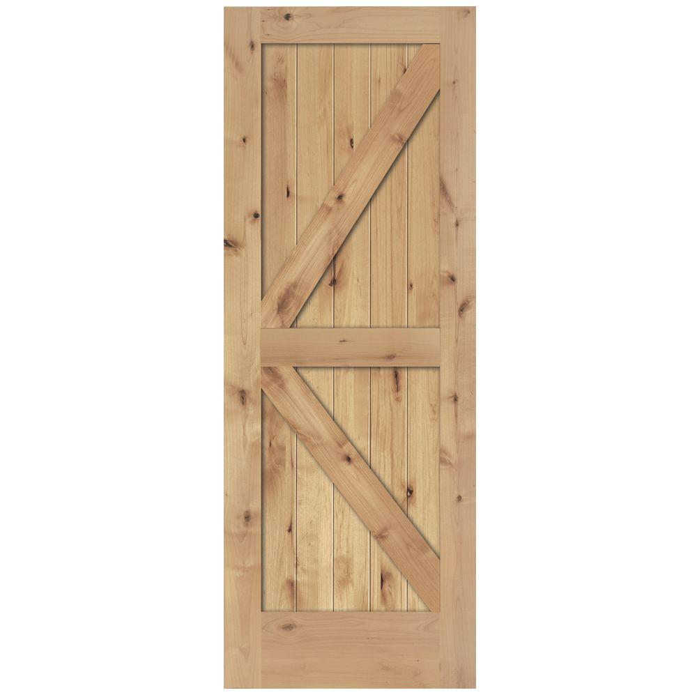 Steves & Sons 24 in. x 84 in. 2-Panel Solid Core Unfinished Knotty Alder Interior Barn Door Slab