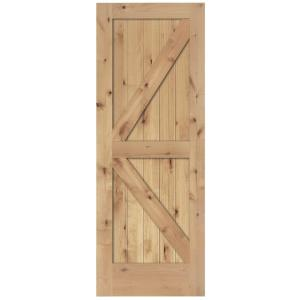 30 in. x 80 in. 2-Panel Solid Core Unfinished Knotty Alder Interior Barn Door Slab