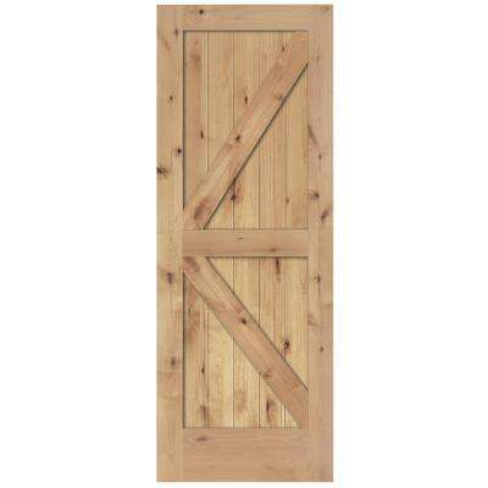 2 panel barn solid core unfinished knotty alder interior door slab - Rustic Wood Interior Doors