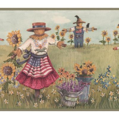 Retro Art Vintage Scarecrows With American Flags On The Sunflower
