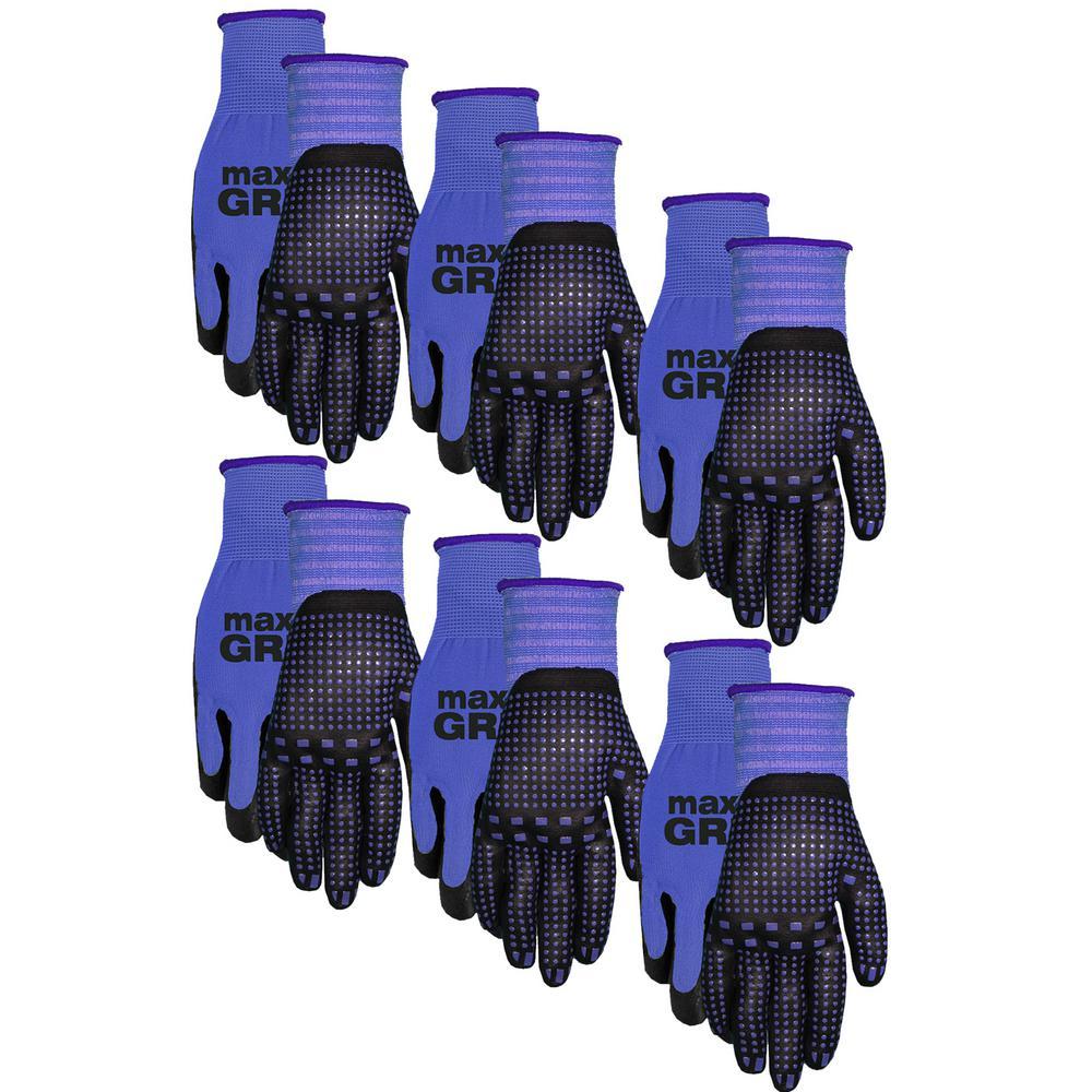 Men's Blue Max Grip Gloves (6-Pack)