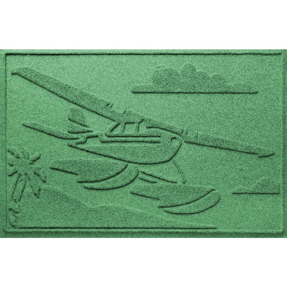 Light Green 24 in. x 36 in. Sea Plane Polypropylene Door Mat