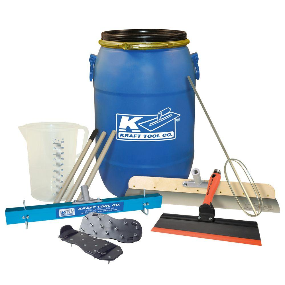 Kraft Tool Co. 7-Piece Self-Leveling Tool Kit with 15 Gal. Mixing Barrel