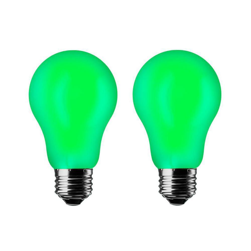 Green A19 7W LED Light Bulb (2-Pack)