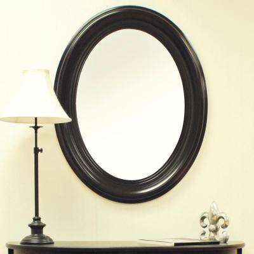 32 in. H x 25 in. W Oval Mirror in Antique Black