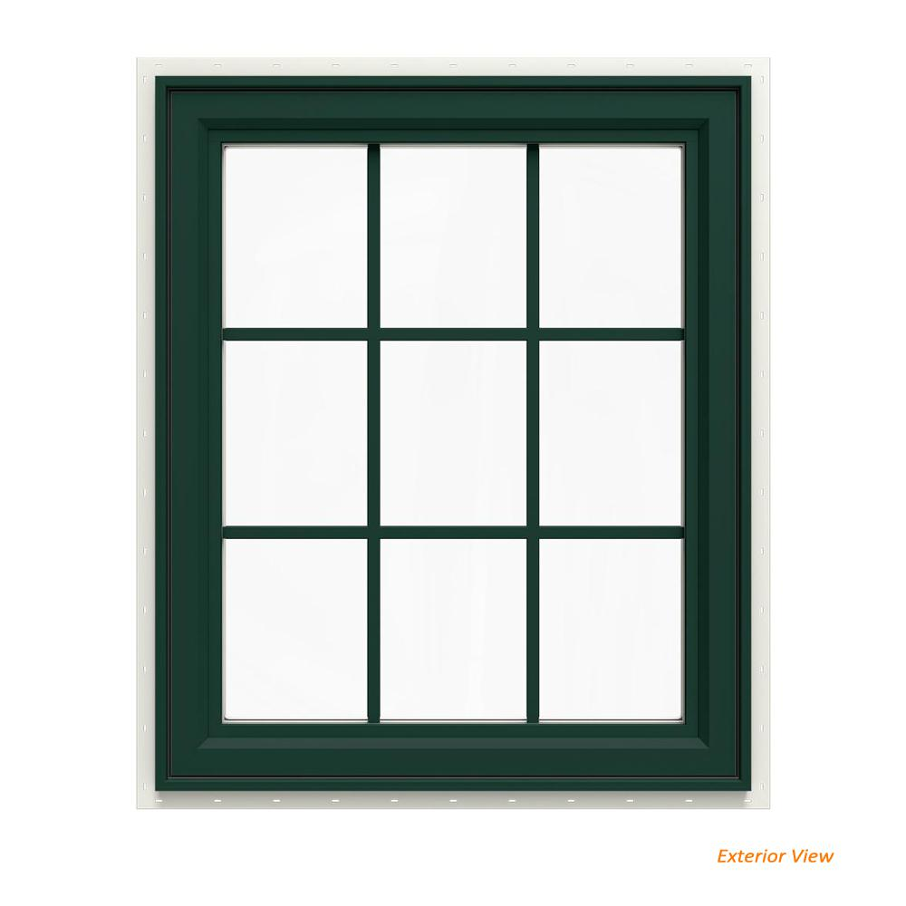 29.5 in. x 35.5 in. V-4500 Series Green Painted Vinyl Left-Handed