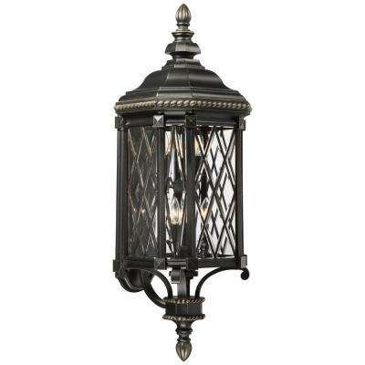Bexley Manor 6-Light Black with Gold Highlights Wall Lantern Sconce