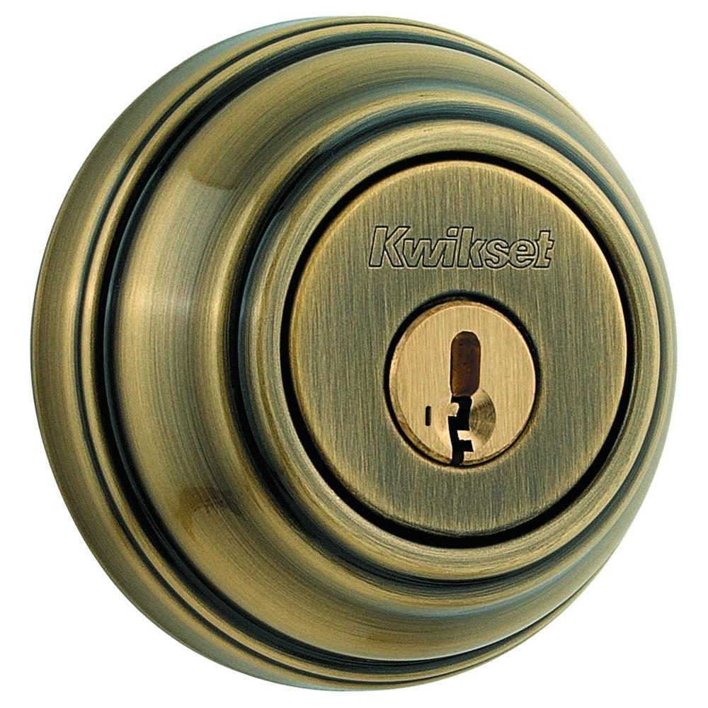 Kwikset 985 Series Antique Brass Double Cylinder Deadbolt featuring SmartKey