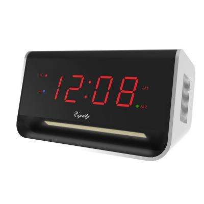 5.5 in. x 3.15 in. LED Alarm Clock with Bluetooth and USB Port - Red