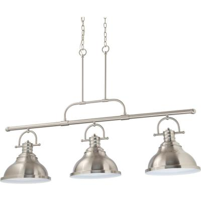 3-Light Indoor Brushed Nickel Linear Kitchen Island Hanging Pendant with Bell-Shaped Bowls