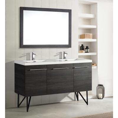 Annecy 60 in. Double, 2-Door, 1 Drawer Bathroom Vanity in Black with White Basin