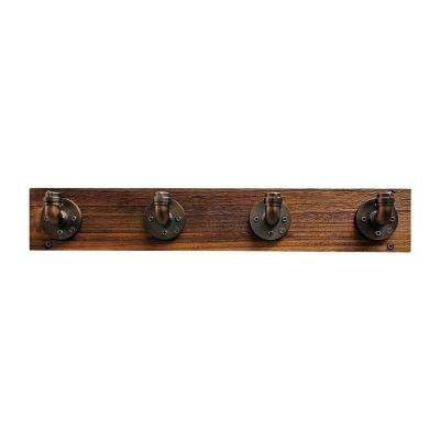 San Antonio Farmhouse Industrial, Brown Wall Mounted Entryway/Closet/Coat Rack/4-Hooks Metal Reclaimed Wood