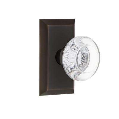 Studio Plate 2-3/4 in. Backset Timeless Bronze Passage Hall/Closet Round Clear Crystal Glass Door Knob