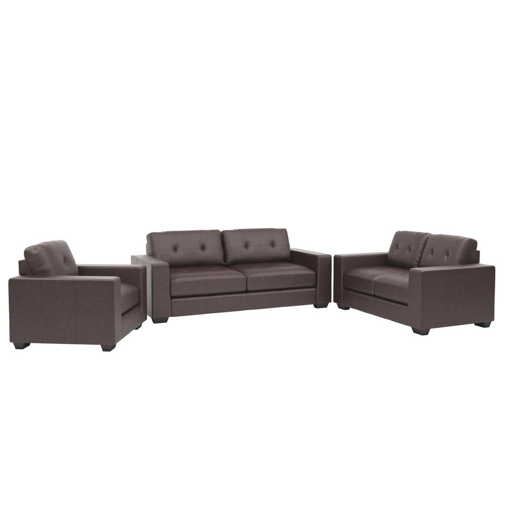 Corliving Club 3 Piece Tufted Chocolate Brown Bonded Leather Sofa Set
