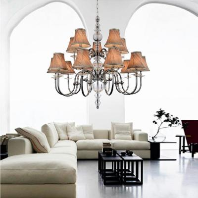 Curves 15-Light Chrome Chandelier with Beige Shade