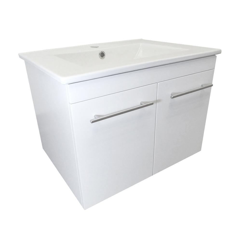 Jerez 24.4 in. W x 18.5 in. D Bath Vanity in White with Ceramic Vanity Top in White with White Basin