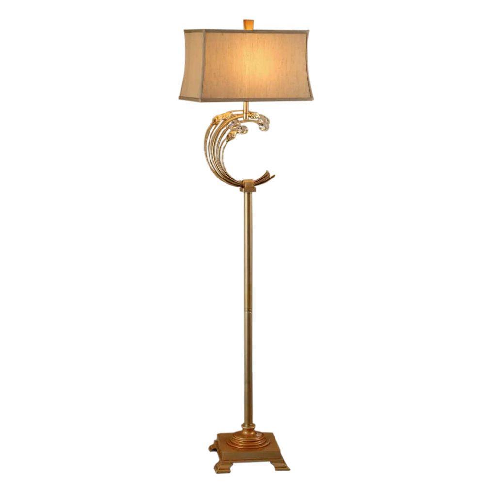 OK LIGHTING 64 in. Gold Crystabranch Floor Lamp