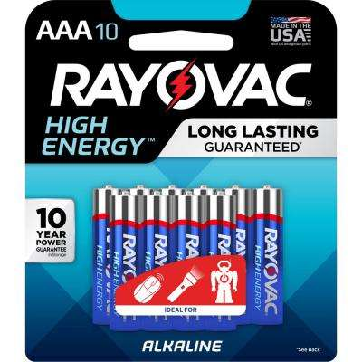 High Energy Alkaline AAA/1.5 Volt Battery (10-Pack)