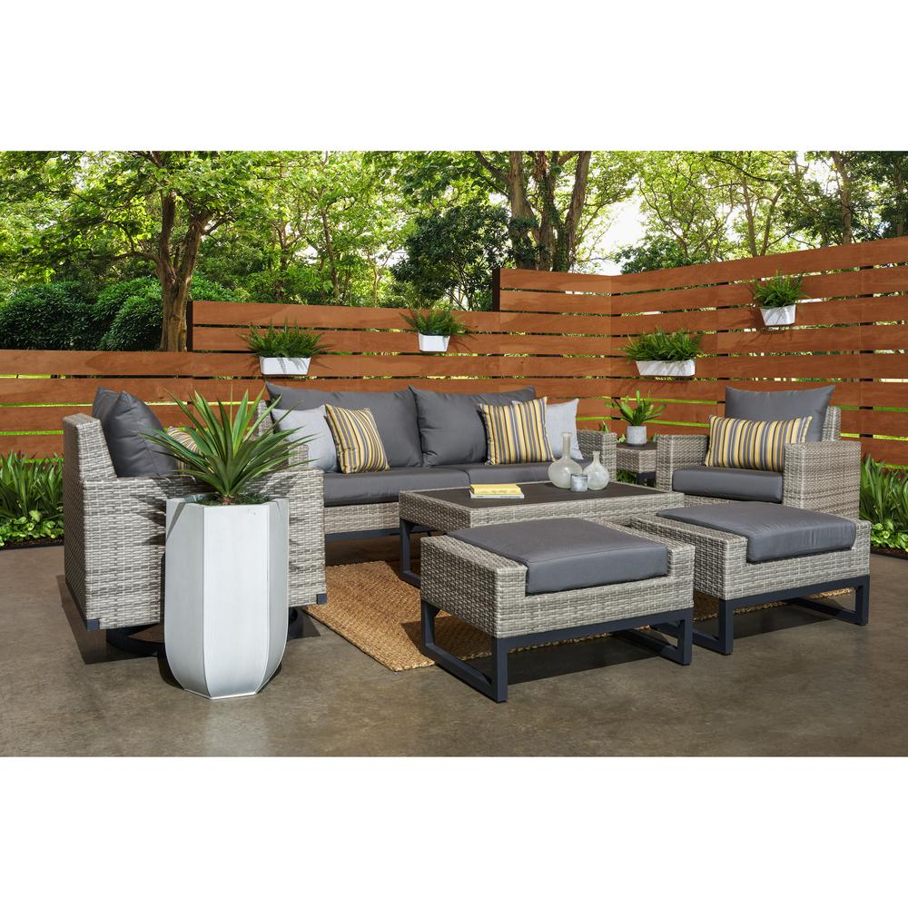 RST Brands Milo Grey 7-Piece Wicker Motion Patio Deep Seating Conversation Set with Sunbrella Charcoal Grey Cushions