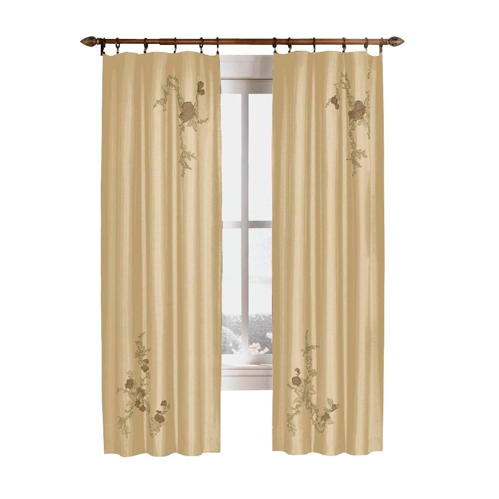 Semi-Opaque Gold Asia Faux Silk Rod Pocket Curtain - 44 in.