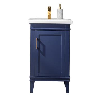 Avery 20 in. W x 15.7 in. D Bath Vanity in Blue with Porcelain Vanity Top in White with White Basin