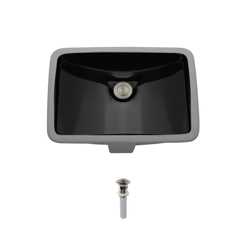 MR Direct Undermount Porcelain Bathroom Sink in Black with Pop-Up Drain in Brushed Nickel