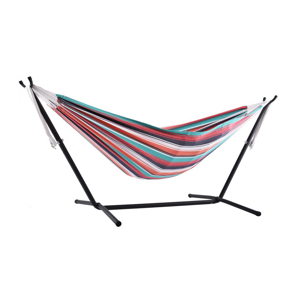 0f12b49b848 Vivere 9 ft. Cotton Double Hammock with Stand in Plumeria-UHSDO9-30 ...