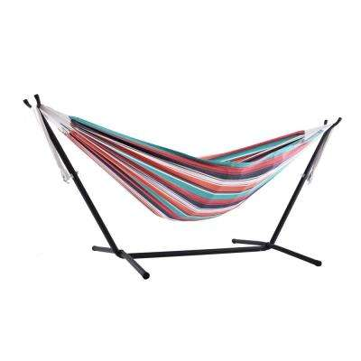 9 ft. Cotton Double Hammock with Stand in Plumeria