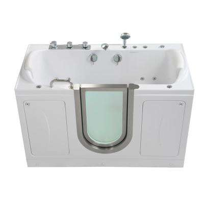 Companion 2 Seat 60 in. Walk-In Whirlpool, MicroBubble and Air Bath Bathtub in White, Heated Seat with 2 in. Dual Drain