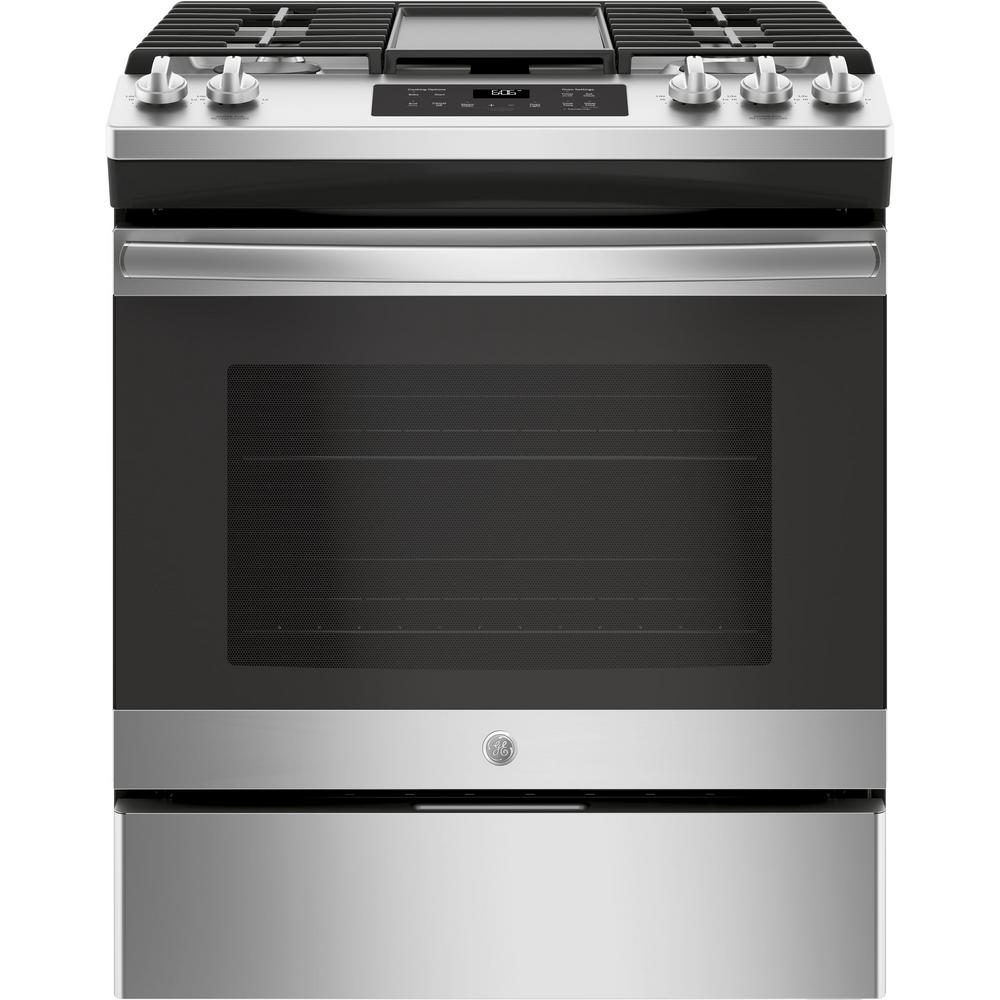 GE 50 cu ft SlideIn Gas Range with Steam Clean Oven in Stainless
