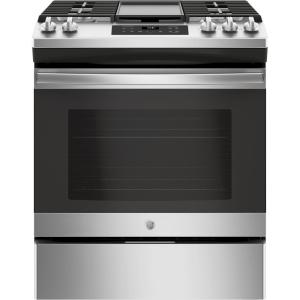 GE 5.0 cu. ft. Slide-In Gas Range with Steam Clean Oven in Stainless Steel by GE